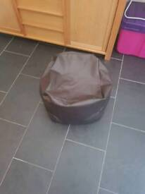 Brown leather beanbag
