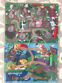 2 x Melissa & Doug Magnetic Wand Wooden Puzzle Activity