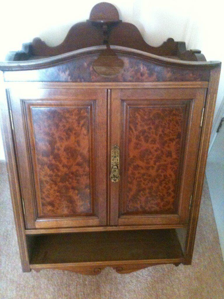 Edwardian Maple and Oak Wall Cabinet