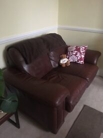 Super comfy leather sofa price open to offers!