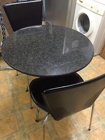 Granite top table and 2 chairs
