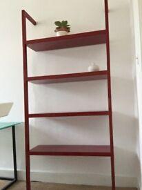 Habitat red lacquer metal shelving unit