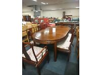 ASIAN STYLE HARDWOOD EXTENDING DINING TABLE AND 8 CHAIRS