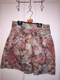 Topshop A line glitter floral skirt with zip
