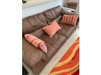 Dfs 3 seater and 2 seater brown leather sofa sizes in add