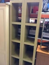 2 x Tall wooden 4 compartment shelving units