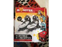Monster adjustable in-line roller skates sizes 2-4