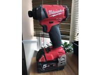 Milwaukee Fuel brushless impact driver 18v with 5 amp battery