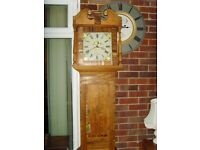 Cottage style light oak cased Grandfather clock