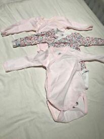 Baby Girl Petit Bateau 3 Bodysuits 1M