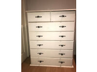 WHITE PAINTED REAL PINE WOOD CHEST OF DRAWERS X 2