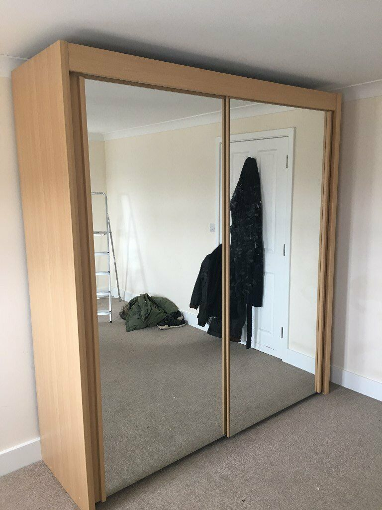 Large Double Wardrobe With Sliding Mirrored Doors Made By