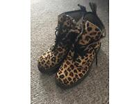 Dr martens hairy leopard boots size 5