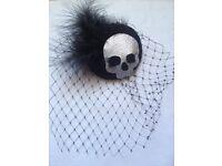 Glittery skull hair fascinator