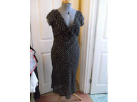 Wallis dress, black with cream spots, size 12