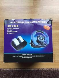 PlayStation 1,Xbox,Nintendo GameCube boxed steering wheel