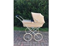 Vintage Marmet Brown Leather Baby Pram Buggy Push Chair With Mattress Very Nice Vintage Condition