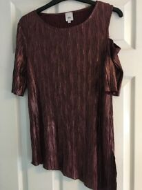 River Island Cold Shoulder metallic top. Size 12