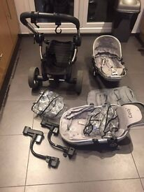Icandy Peach 2 Silver Double Pushchair + Lots Of Extra Accessories