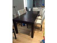 Mango wood dining table 200cm, Maisons du Monde brand + chairs