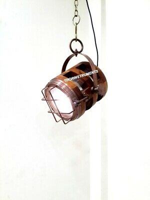 Collectible Royal Brown Wooden Nautical Lamp Ceiling/Pendant Hanging Light
