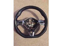VW Volkswagen GTI Scirocco Touran Sharan Caddy T5 Amarok Flat Bottom steering wheel DSG Paddles