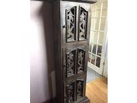 Balinese carved dark wooden cupboard unit