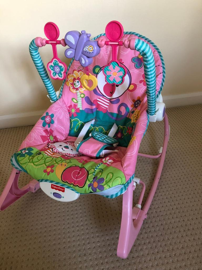 Fisher Price Infant to Toddler Rocker Rainforest Pink with Toybar