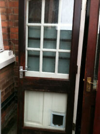 Exerior wooden door with 2 double glazed clear glass panels