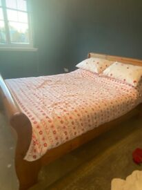 Double Pine Sleigh Bed