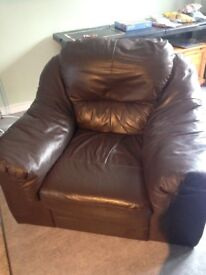 Dark brown, soft faux leather uber comfy armchair