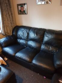 Two seater and three seater leather sofa