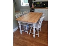 Country / Farmhouse Table And Chairs. Refurbished in Farrow & Ball Eggshell paint. * Free delivery