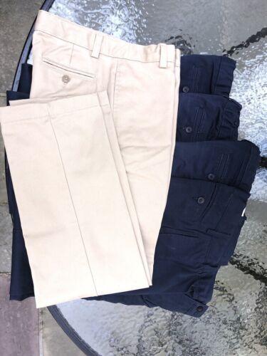 Lands End Boys Chino Pants size 14 Lot (1 khaki, 3 navy) gently used FreeShip