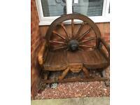 Solid wood garden seat