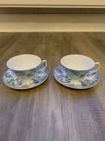 Whittard Cup and Saucer x2 - Bone China