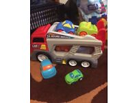 Brand new truck and cars