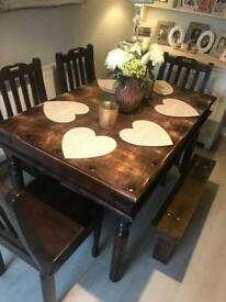 Dark oak farmhouse dining table and 4 chairs and bench