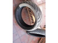 Two used motorcycle tyres Continental (Front and rear)