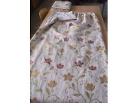 """Large Floral Curtains Cream, Gold, Green & Burgundy Red 83"""" Wide (7ft/210cm) x 83"""" Drop"""
