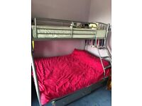 Metal triple bunk bed and two mattresses