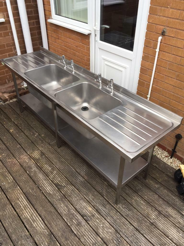 Stainless steel sink units stainless steel double drainer sink - Stainless Steel Sink Stainless Steel Double Bowl Double Drainer Commercial Sink Unit With Taps