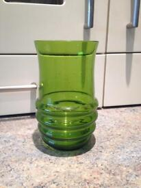Vintage glass wear collection- clear bonbon dish and green vase