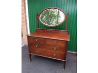 Wooden vintage dresser chest of drawers & Mirror