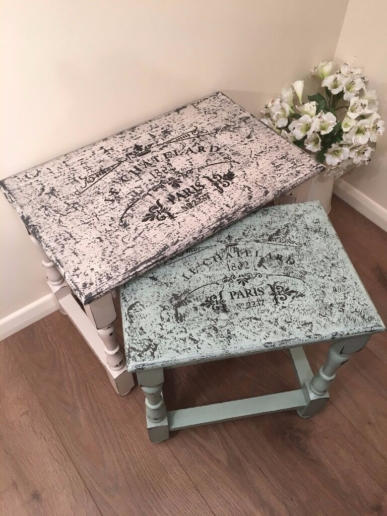 Shabby chic nest of tables cream and green two colour