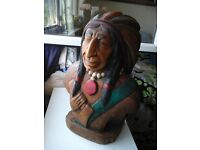 Carved Wooden Native Indian Bust