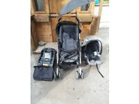 Grey demin mamma & pappa pushchair with matching bag umbrella feet warmer rain cover
