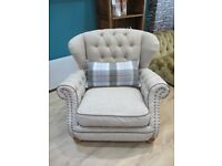 Elegant armchair in Natural Oatmeal and Sky Blue tartan with Tan leather piping & weathered oak feet