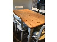 Farmhouse kitchen table and six chairs