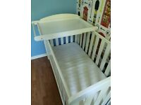 John Lewis Rachel Cotbed / Junior bed with Changing station and Mattress